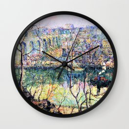 12,000pixel-500dpi - Ernest Lawson - High Bridge - Early Moon - Digital Remastered Edition Wall Clock