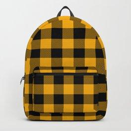 Jumbo Goldenrod Yellow and Black Rustic Cowboy Cabin Buffalo Check Backpack