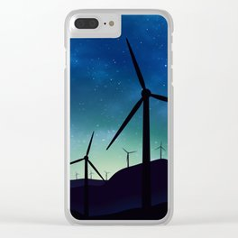 Palm Springs Windmills at Night Clear iPhone Case
