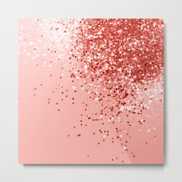 Sparkling Living Coral Lady Glitter #1 #shiny #decor #art #society6 Metal Print