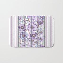Watercolor purple lavender lilac floral stripes Bath Mat