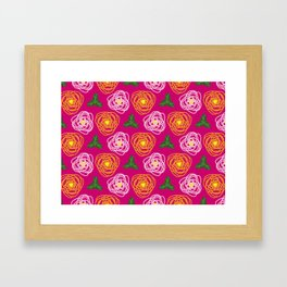 Bright pink floral Framed Art Print