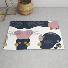Abstract Shapes & Leaves in Midnight Blue with Metallic Gold Flecks Rug