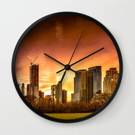 Sunset over Midtown Manhattan Wall Clock