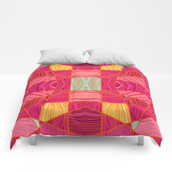 Happy Pink and Orange Pattern Comforters