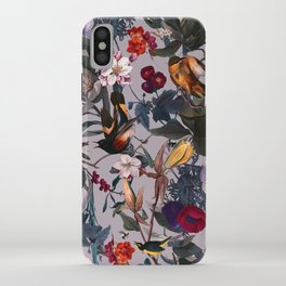 Floral and Birds XL iPhone Case