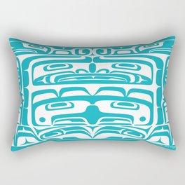 Bentwood Box Teal Formline Rectangular Pillow