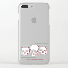 Skull Cyberpunk Vaporwave Art. Creepy Halloween Horror print graphic Clear iPhone Case