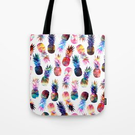watercolor and nebula pineapples illustration pattern Tote Bag