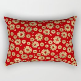 Chinese Coin Pattern Gold on Red Rectangular Pillow