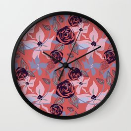 Indian Red Floral Wall Clock
