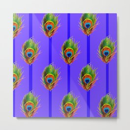 Decorative Contemporary  Peacock Feathers Art Metal Print