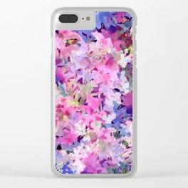 Rose and Indigo Garden Clear iPhone Case