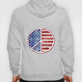 Watercolor Patriot Peace Symbol Stars and Stripes USA Flag Hoody