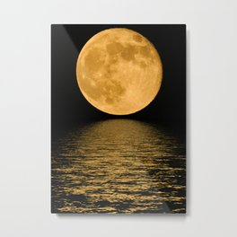 Yellow Moon at night Metal Print