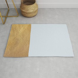 Color Blocked Gold & Periwinkle Rug