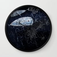 whales Wall Clocks featuring whales by Bunny Noir