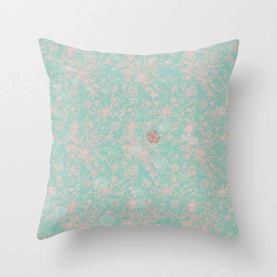 Tribal Flowers Throw Pillow
