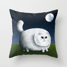 Fat Cat Looks at the Moon Throw Pillow