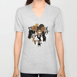 Dogs, A Cat, And A Chicken Unisex V-Neck