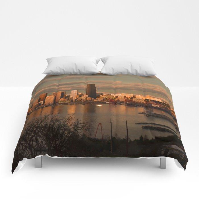Seattle Cityscape Comforters