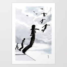 Sky dive to freedom Art Print