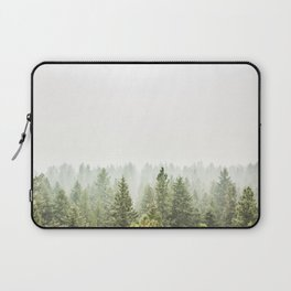 arial forest print, tree top print, wall art, woodland print, forest print, arial fog tree phoo Laptop Sleeve