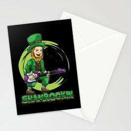 Shamrockin - Leprechaun With E-Guitar - Musician Stationery Cards