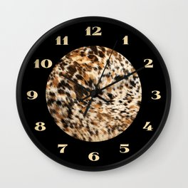 Rustic Country Western Texas Long Horn Cowhide Rodeo Animal Print Wall Clock