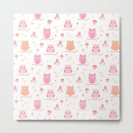 Cute funny pastel pink coral orange owl floral Metal Print