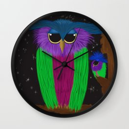 The Prismatic Crested Owl Wall Clock