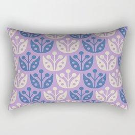 Mid Century Modern Flower Pattern Lavender and Blue 112 Rectangular Pillow
