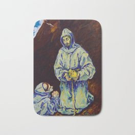 St Francis and Brother Leo Meditating on Death (after El Greco) Bath Mat