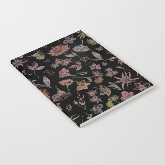 Botanical Study- Dark Colorway Notebook