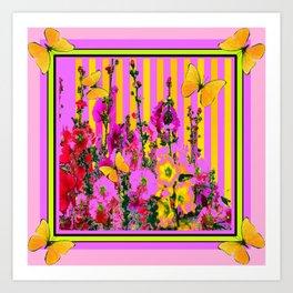 YELLOW BUTTERFLIES  PINK FLORAL GARDEN  ABSTRACT Art Print