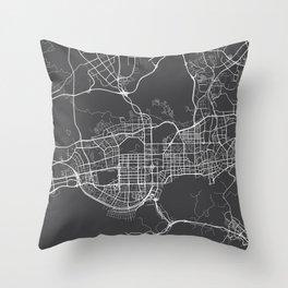 Shenzhen Map, China - Gray Throw Pillow