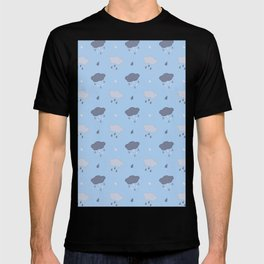 Rain Cloud Pattern in Light Blue T-shirt