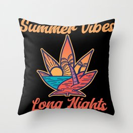 Summer Vibes Long Nights Throw Pillow