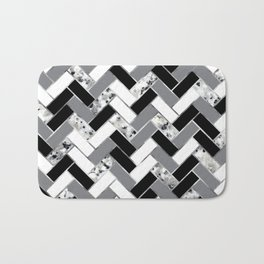 Shuffled Marble Herringbone - Black/White/Gray/Silver Bath Mat