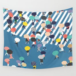 Crossing The Street On a Rainy Day - Blue Wall Tapestry