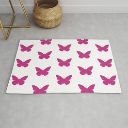 Pink Butterfly Pattern and Print Rug
