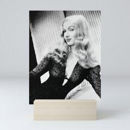 Mischievous Veronica Lake, Hollywood Starlet, black and white photograph / black and white photography Mini Art Print