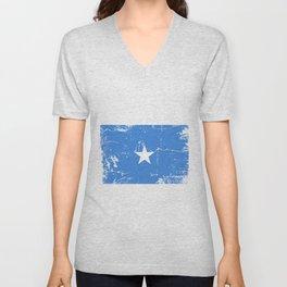 Somalia flag with grunge effect Unisex V-Neck