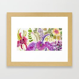Chinese Brush Floral with Orchid Framed Art Print