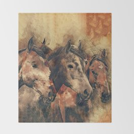Galloping Wild Mustang Horses Throw Blanket