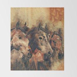 Galloping Wild Mustang Horses Throw Blanket
