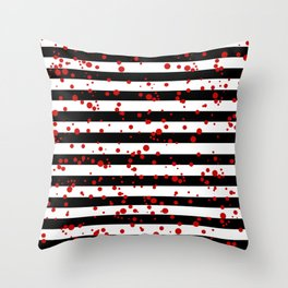 Black and White Stripes, Red Splatter Throw Pillow