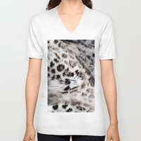 snow leopard V-neck T-shirts featuring Snow Leopard by Moody Muse
