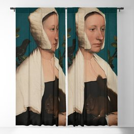 PORTRAIT OF A LADY WITH A SQUIRREL AND A STARLING - HANS HOLBEIN Blackout Curtain