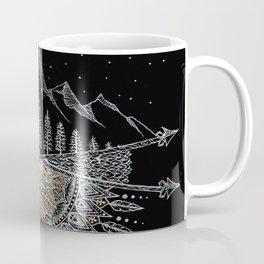 Moon and Stars Night Sky Mountain Range Arrow Mandala Coffee Mug